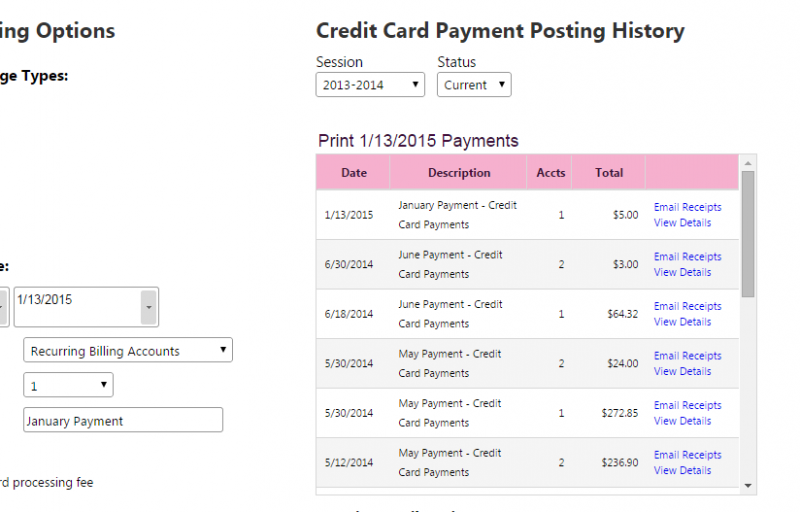 Figure 3: Credit Card Posting History