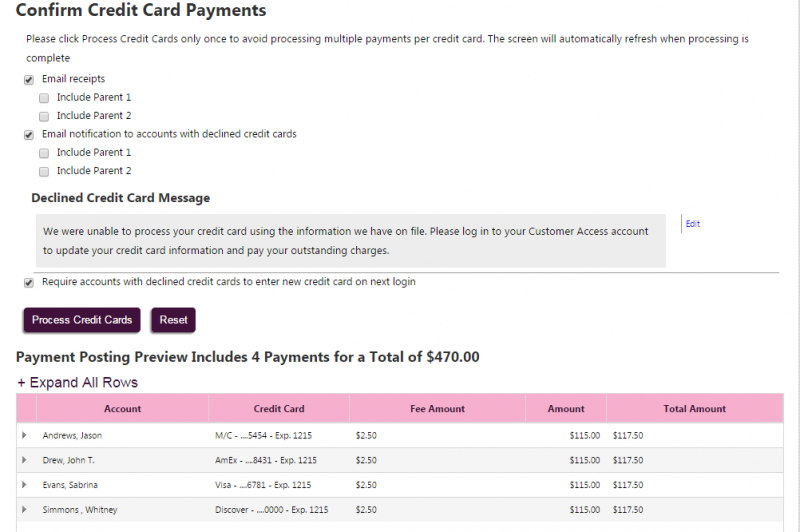 Figure 2: Confirm Credit Card Payments