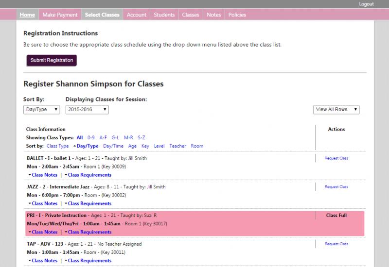 Sample Class List.