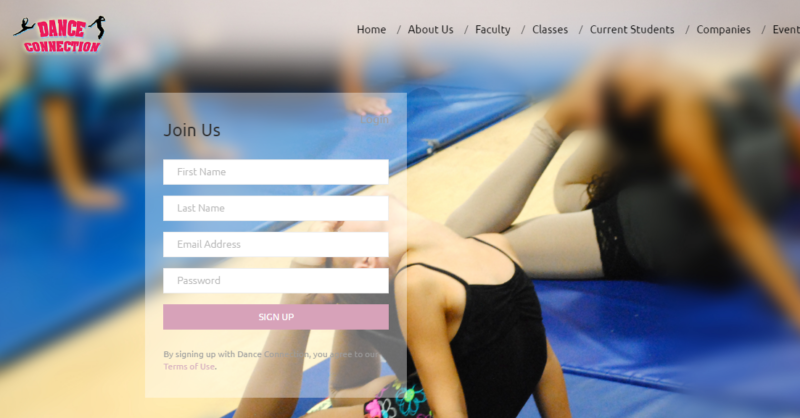 Here is an example of the new login integration. Thank you to Dance Connection in Long Island, NY for working with us on this project and allowing us to use their website in this article.